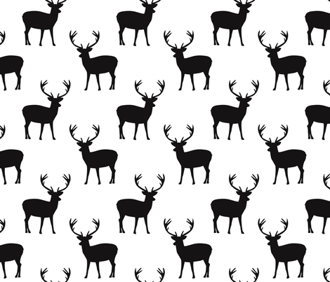 Black and white deer fabric by >>mintpeony<< on Spoonflower - custom fabric