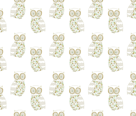 Snow Owl fabric by >>mintpeony<< on Spoonflower - custom fabric