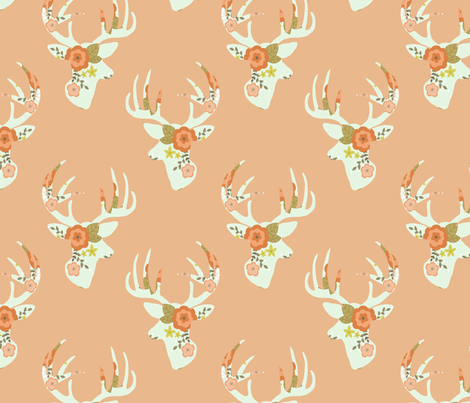 Minty floral deer fabric by >>mintpeony<< on Spoonflower - custom fabric