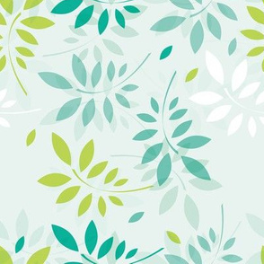 Spring pattern with beautiful green leaves