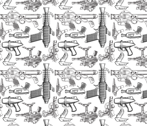 Ray Gun Revival (White) fabric by studiofibonacci on Spoonflower - custom fabric