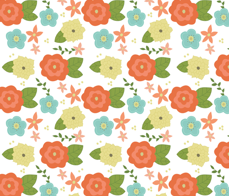 Spring time floral fabric by >>mintpeony<< on Spoonflower - custom fabric