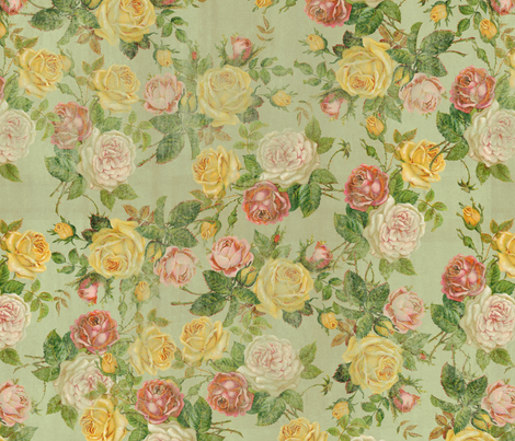 Vintage Faded Floral Pink/Yellow/Green Shabby Chic fabric by cutencomfy on Spoonflower - custom fabric