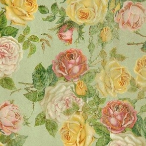 Vintage Faded Floral Pink/Yellow/Green Shabby Chic