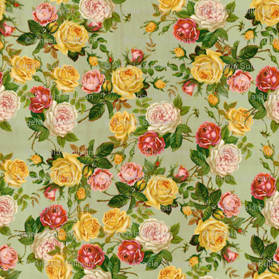 Feminine Pretty Floral Pink/Yellow/Green Shabby Chic