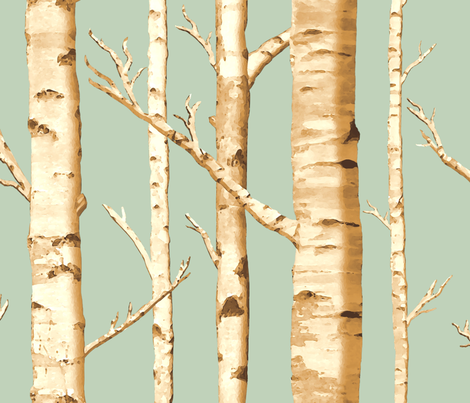 Birch Grove in Sunshine fabric by sparrowsong on Spoonflower - custom fabric