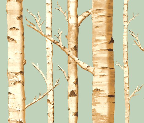 Birch Grove in Sunshine fabric by willowlanetextiles on Spoonflower - custom fabric