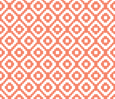 coral giant aztec fabric by ivieclothco on Spoonflower - custom fabric