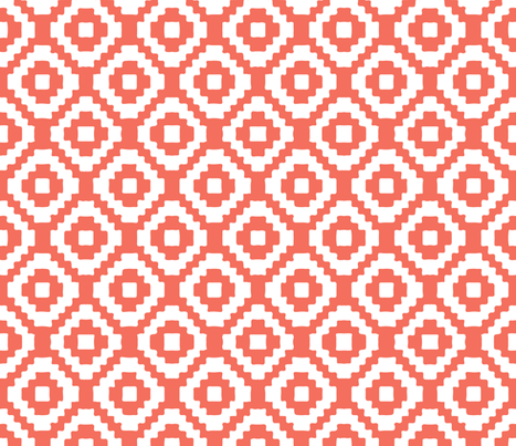 coral giant aztec fabric by eivie&co on Spoonflower - custom fabric