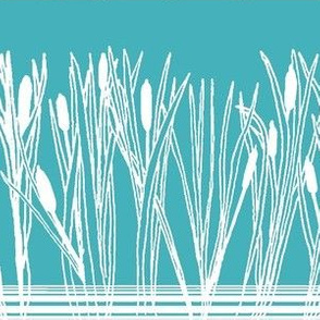 Cattails or Bulrushes by the Pond White on Teal