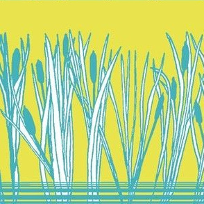 Cattails or Bulrushes by the Pond on Yellow
