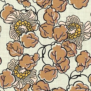 Vintage Block Floral in Pink and Mocha