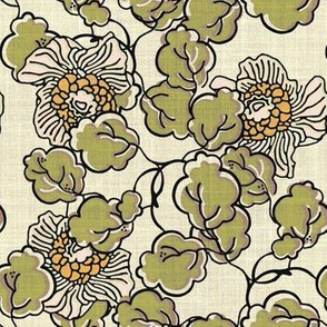 Vintage Block Print Floral in Pink, Moss Green and Taupe