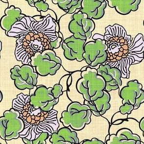 Vintage Block Floral green and beige