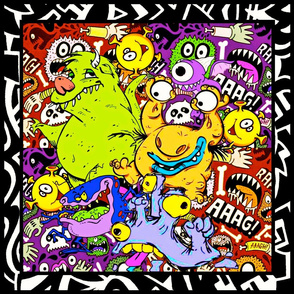 Monster Run Throw Pillow Cover