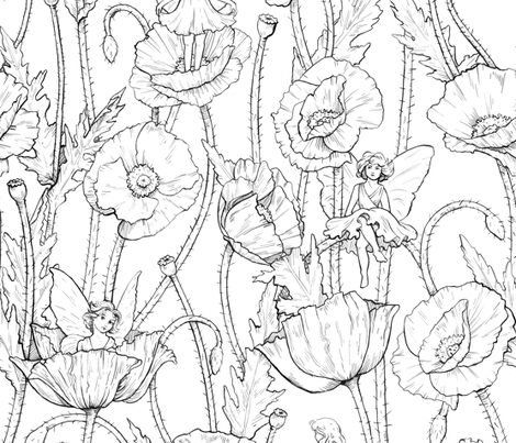 Fairies in Mom's Garden fabric by logan_spector on Spoonflower - custom fabric
