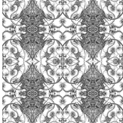 Wallpaper Fabric B&W Floral MMM