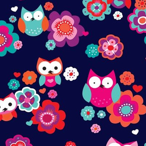 Owls and nightlu summer blossom