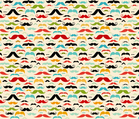 Mustache Stripe fabric by id_designs on Spoonflower - custom fabric