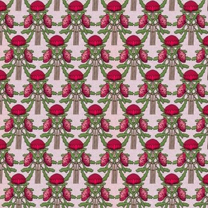Upright waratahs, carmine on pale pink linen