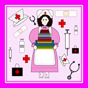 Nurses Doll Fabric 4 Border