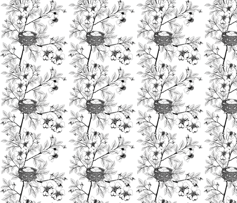 Wild roses & Birds Nest fabric by diane555 on Spoonflower - custom fabric