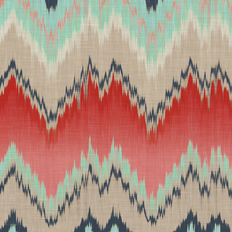 Apple and Aqua Ikat Chevron