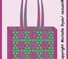 Lined Tote Bag featuring a Crochet Print