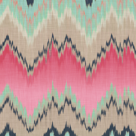 Fuchsia Ikat Chevron fabric by willowlanetextiles on Spoonflower - custom fabric