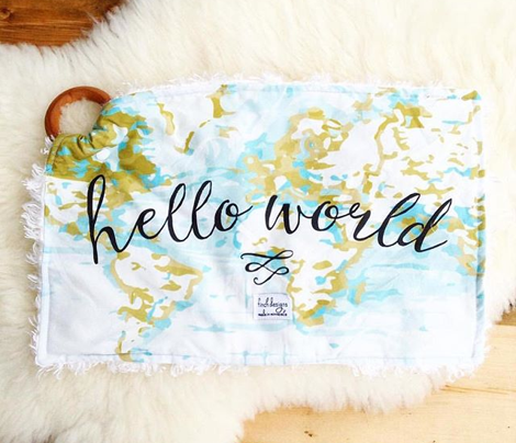 hello world burp cloths + loveys // mustard