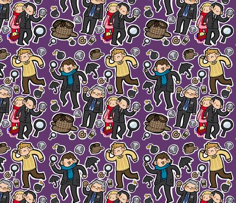 BBC Sherlock Fabric (purple) fabric by geothebio on Spoonflower - custom fabric