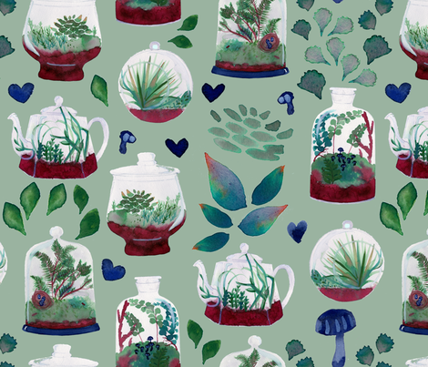 Terrarium Love fabric by alchemy_tea on Spoonflower - custom fabric