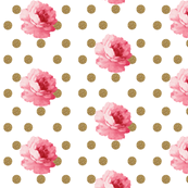 Vintage Pink Flower and Gold Dots