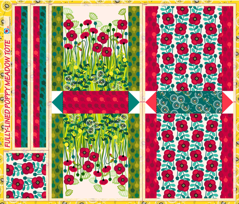 Cut & Sew Poppy meadow tote fabric by coggon_(roz_robinson) on Spoonflower - custom fabric
