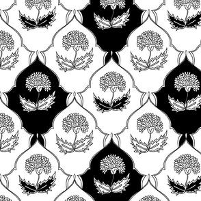 Black & White Floral Tiles