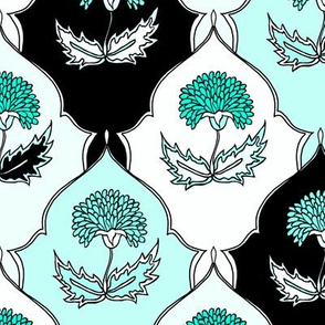 Teal Floral Tiles
