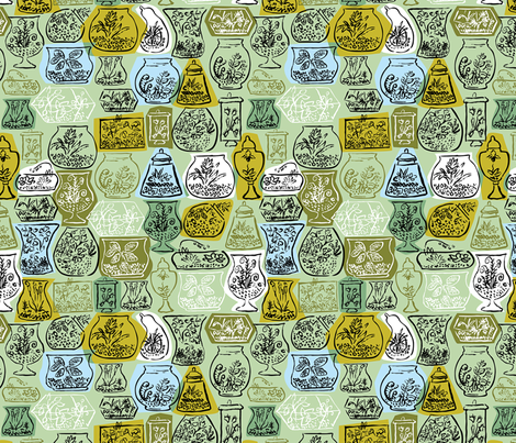 Mid Century Terrariums Larger fabric by vinpauld on Spoonflower - custom fabric