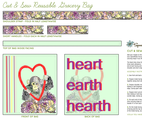 Heart Earth Monkey Earth Day Eco Bag fabric by outie on Spoonflower - custom fabric