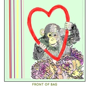 Heart Earth Monkey Earth Day Eco Bag