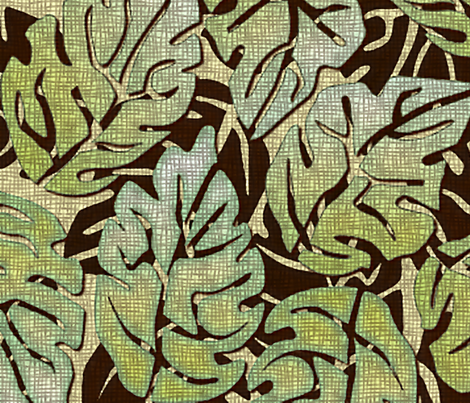 leaves apart mint chocolate large fabric by glimmericks on Spoonflower - custom fabric