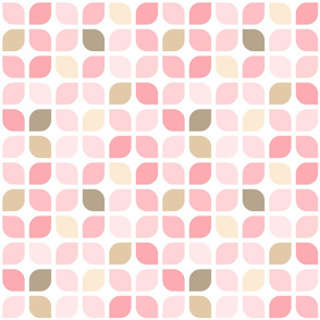 Girly Pink and Brown Geometric Lattice Square Pattern