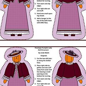 Penelope Pumpkin Lady Cut and Sew Doll