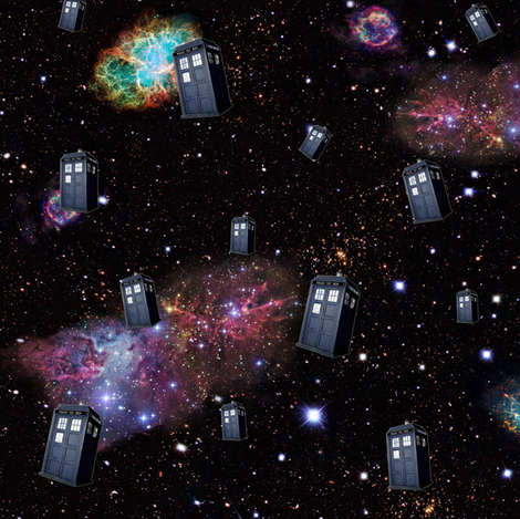 TARDIS_in_space__Smaller_Space_Background_ fabric by amyknight on Spoonflower - custom fabric