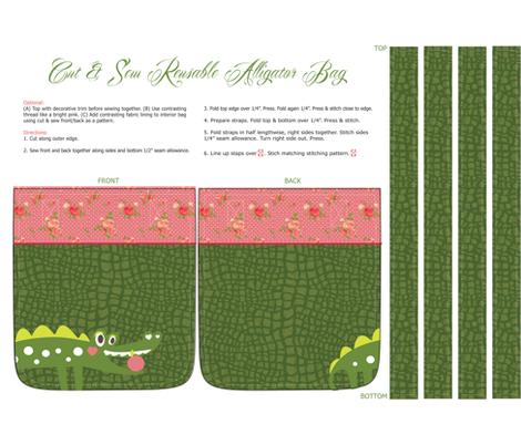 CutSewAligatorBagNrtDesign fabric by nrtdesign on Spoonflower - custom fabric