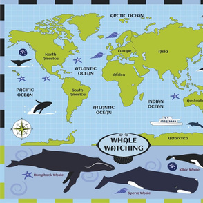 Whale Watching Map Blue Green