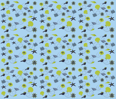 Seashells Blue Green fabric by terriaw on Spoonflower - custom fabric