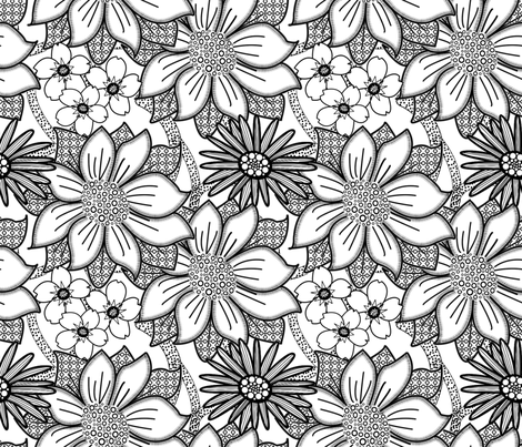 ColourMe Floral Wallpaper fabric by nezumiworld on Spoonflower - custom fabric