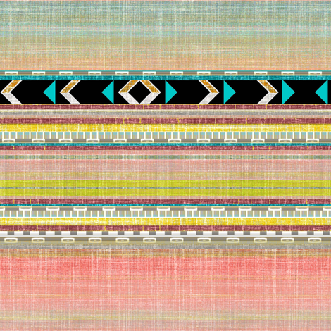 Southwest Aztec Linen stripe in pink, aqua and black fabric by joanmclemore on Spoonflower - custom fabric