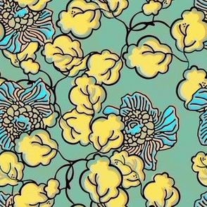 Shabby Chic Block Print Floral in yellow and blue
