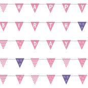 happy birthday flag [ pink & purple ]